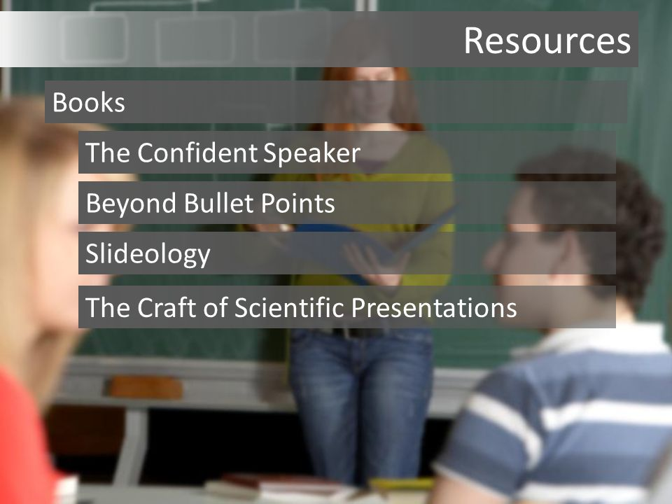 Resources Books The Confident Speaker Beyond Bullet Points Slideology The Craft of Scientific Presentations
