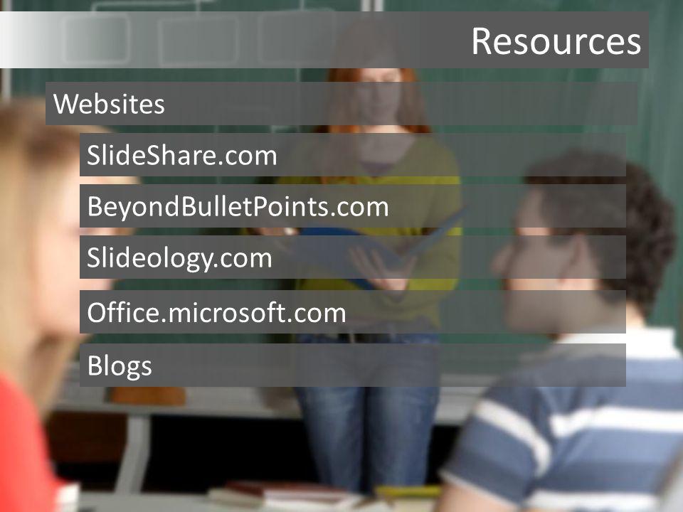 Resources Websites SlideShare.com BeyondBulletPoints.com Slideology.com Office.microsoft.com Blogs