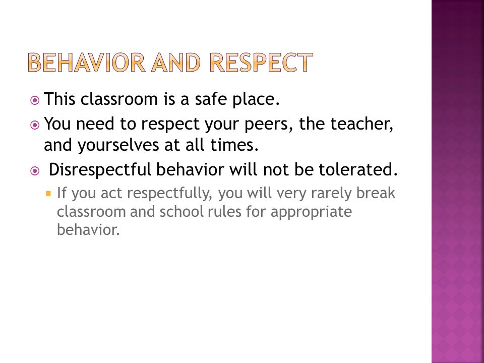  This classroom is a safe place.