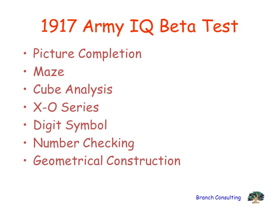 Branch Consulting 1917 Army IQ Beta Test Picture Completion Maze Cube Analysis X-O Series Digit Symbol Number Checking Geometrical Construction