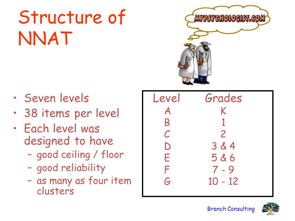Branch Consulting Structure of NNAT Seven levels 38 items per level Each level was designed to have –good ceiling / floor –good reliability –as many as four item clusters LevelGrades AK B1 C2 D3 & 4 E5 & 6 F7 - 9 G10 - 12