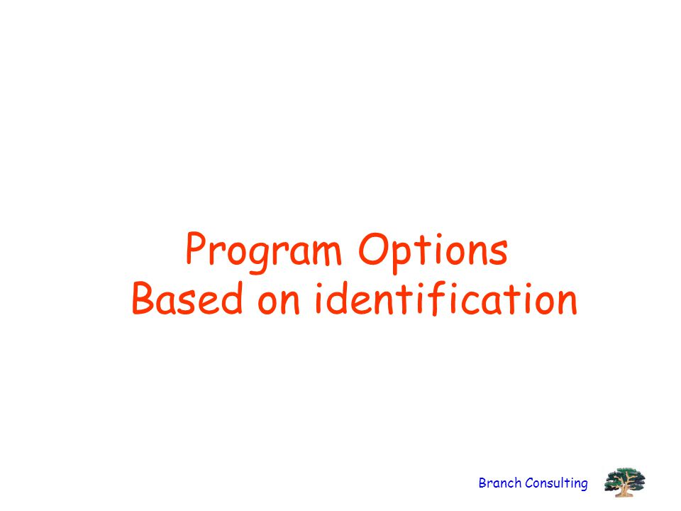 Branch Consulting Program Options Based on identification