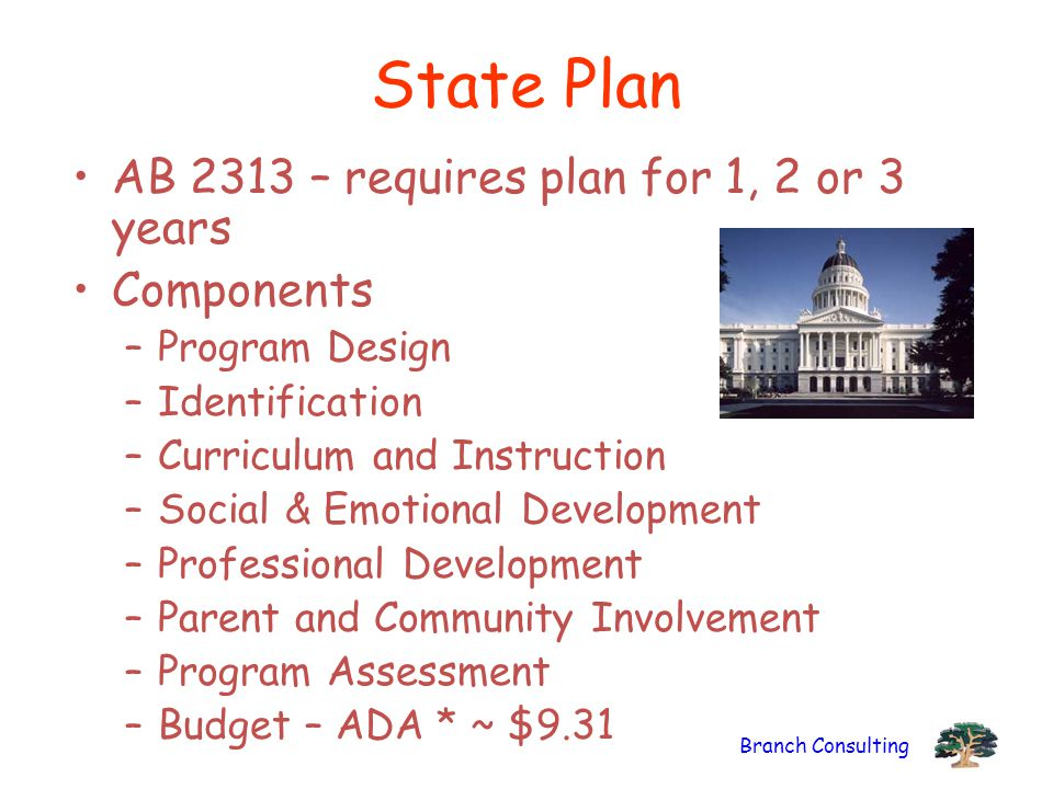 Branch Consulting State Plan AB 2313 – requires plan for 1, 2 or 3 years Components –Program Design –Identification –Curriculum and Instruction –Social & Emotional Development –Professional Development –Parent and Community Involvement –Program Assessment –Budget – ADA * ~ $9.31