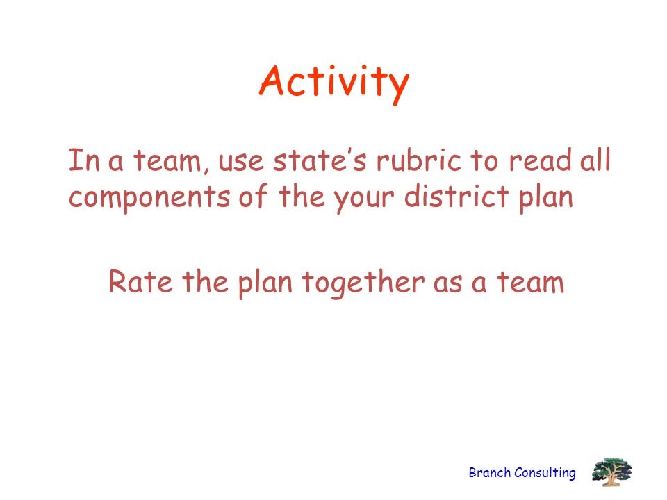 Branch Consulting Activity In a team, use state's rubric to read all components of the your district plan Rate the plan together as a team
