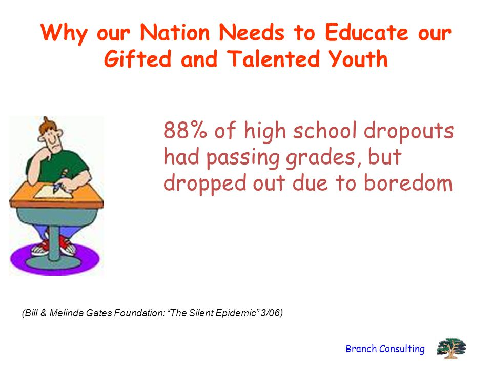 Branch Consulting Why our Nation Needs to Educate our Gifted and Talented Youth 88% of high school dropouts had passing grades, but dropped out due to boredom (Bill & Melinda Gates Foundation: The Silent Epidemic 3/06)