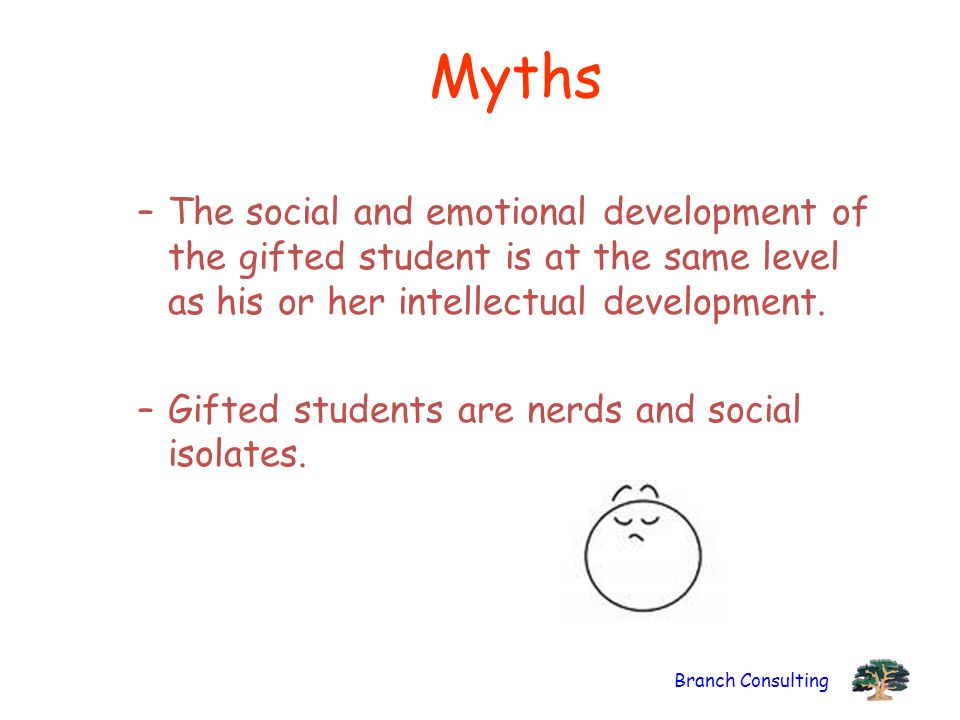 Branch Consulting Myths –The social and emotional development of the gifted student is at the same level as his or her intellectual development.