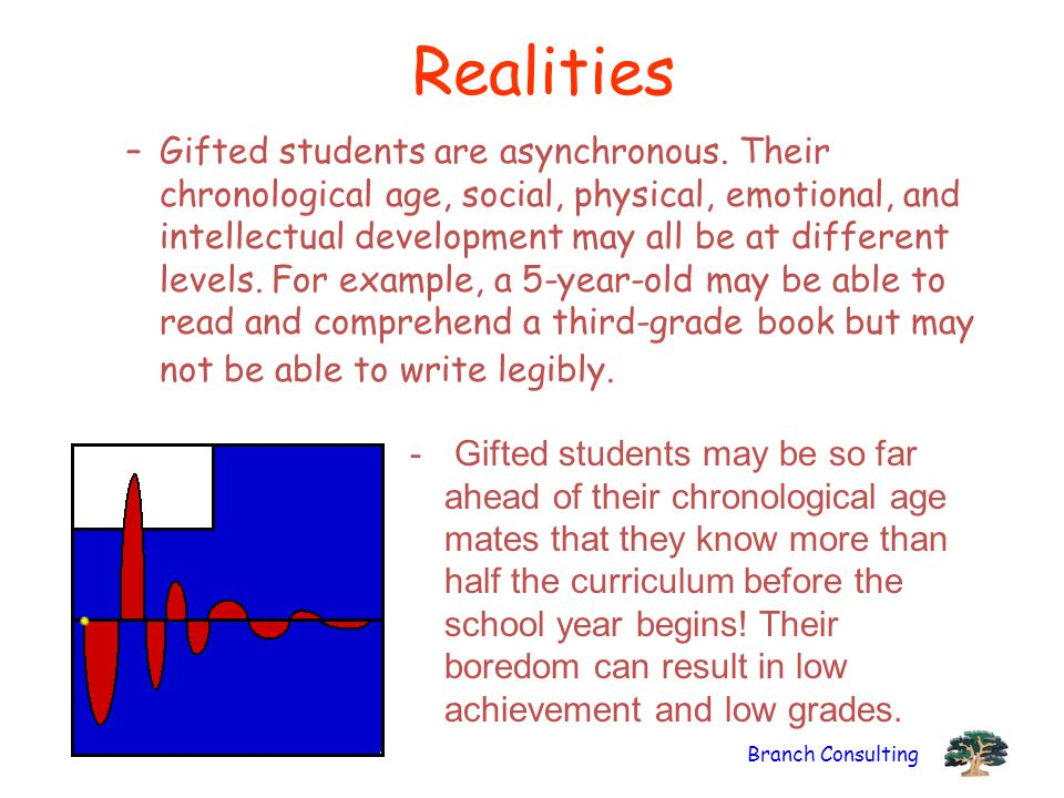 Branch Consulting Realities –Gifted students are asynchronous.