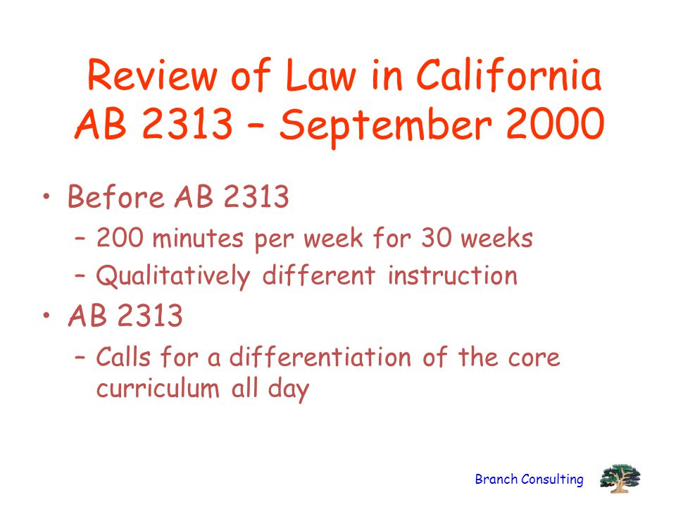 Branch Consulting Review of Law in California AB 2313 – September 2000 Before AB 2313 –200 minutes per week for 30 weeks –Qualitatively different instruction AB 2313 –Calls for a differentiation of the core curriculum all day