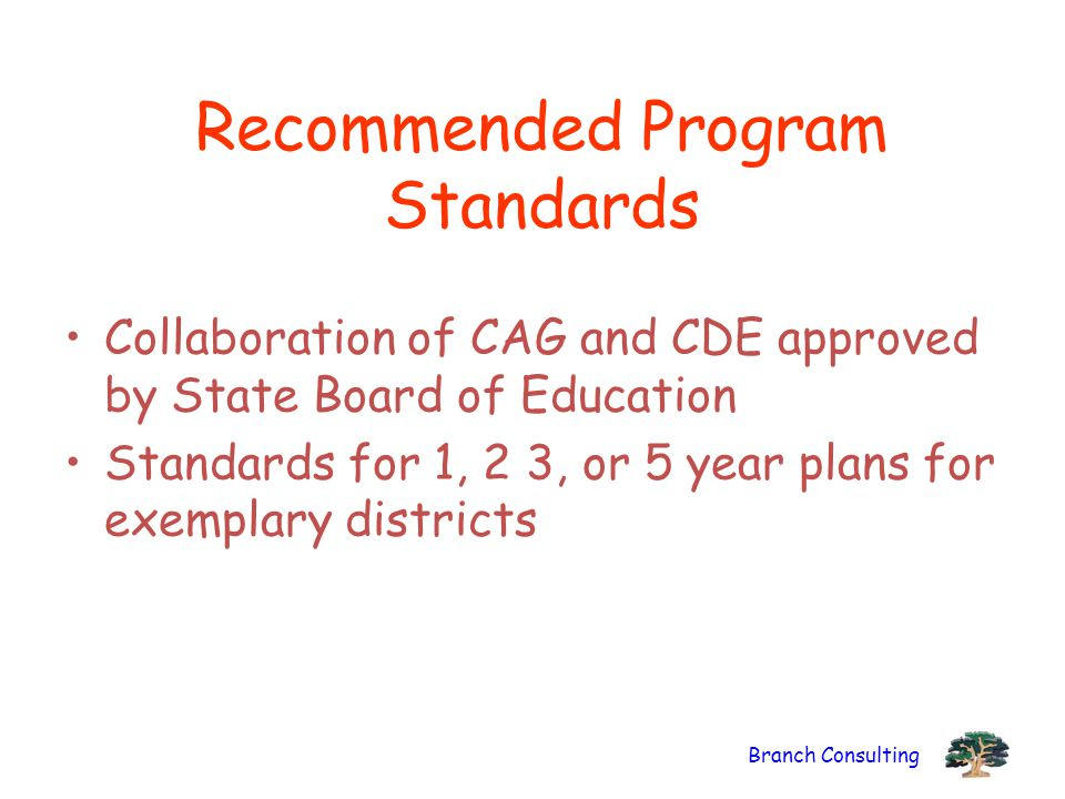 Branch Consulting Recommended Program Standards Collaboration of CAG and CDE approved by State Board of Education Standards for 1, 2 3, or 5 year plans for exemplary districts