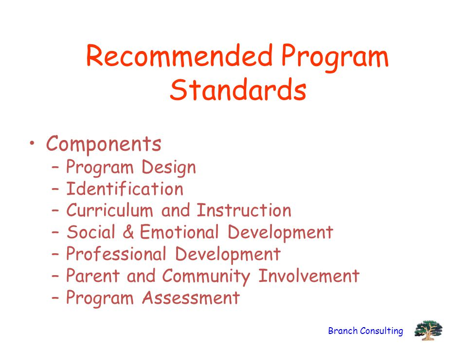 Branch Consulting Recommended Program Standards Components –Program Design –Identification –Curriculum and Instruction –Social & Emotional Development –Professional Development –Parent and Community Involvement –Program Assessment