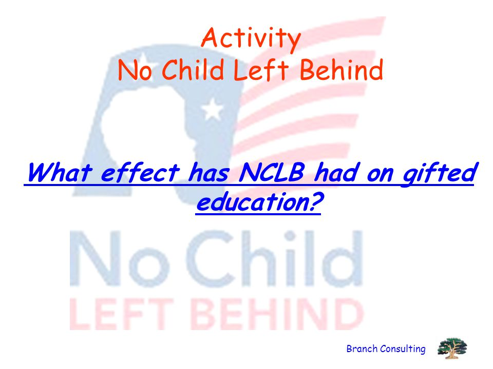 Branch Consulting Activity No Child Left Behind What effect has NCLB had on gifted education?