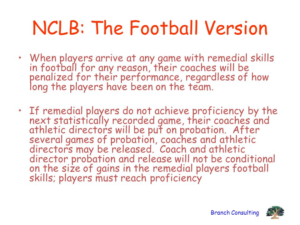 Branch Consulting NCLB: The Football Version When players arrive at any game with remedial skills in football for any reason, their coaches will be penalized for their performance, regardless of how long the players have been on the team.