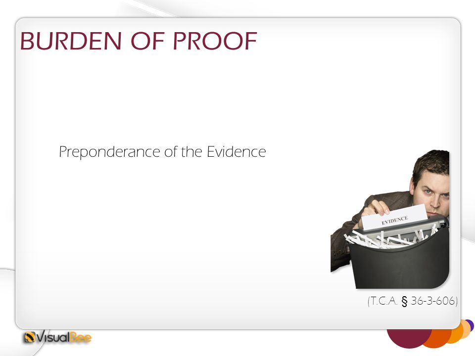 BURDEN OF PROOF Preponderance of the Evidence (T.C.A. § 36-3-606)