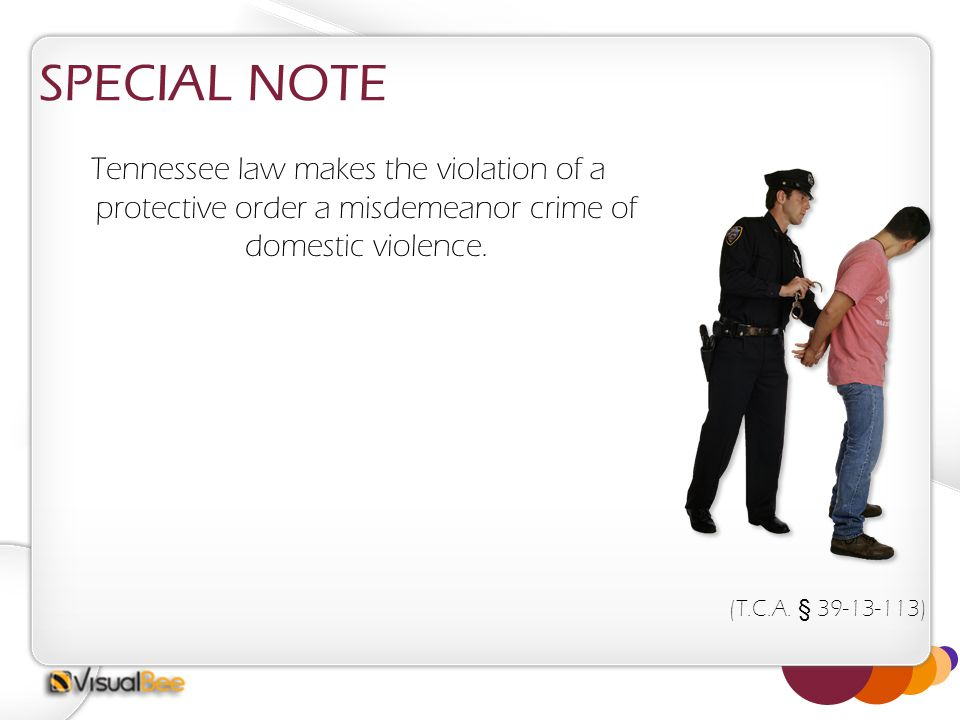 SPECIAL NOTE Tennessee law makes the violation of a protective order a misdemeanor crime of domestic violence. (T.C.A. § 39-13-113)