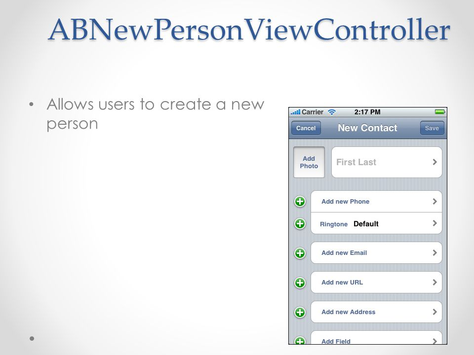 ABNewPersonViewController Allows users to create a new person