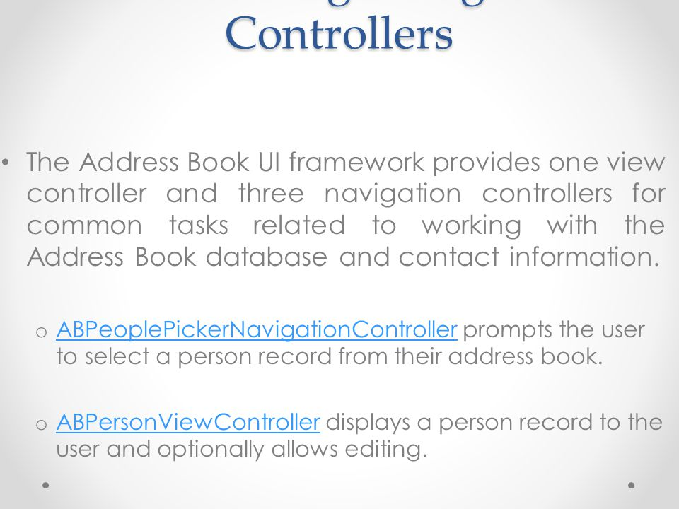 o ABNewPersonViewController prompts the user create a new person record.