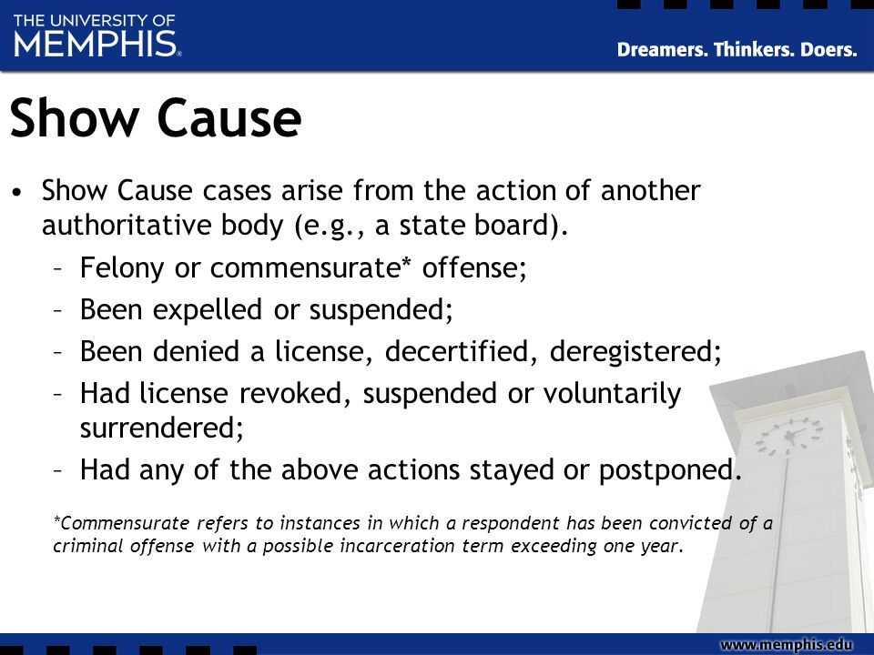 Show Cause Show Cause cases arise from the action of another authoritative body (e.g., a state board).