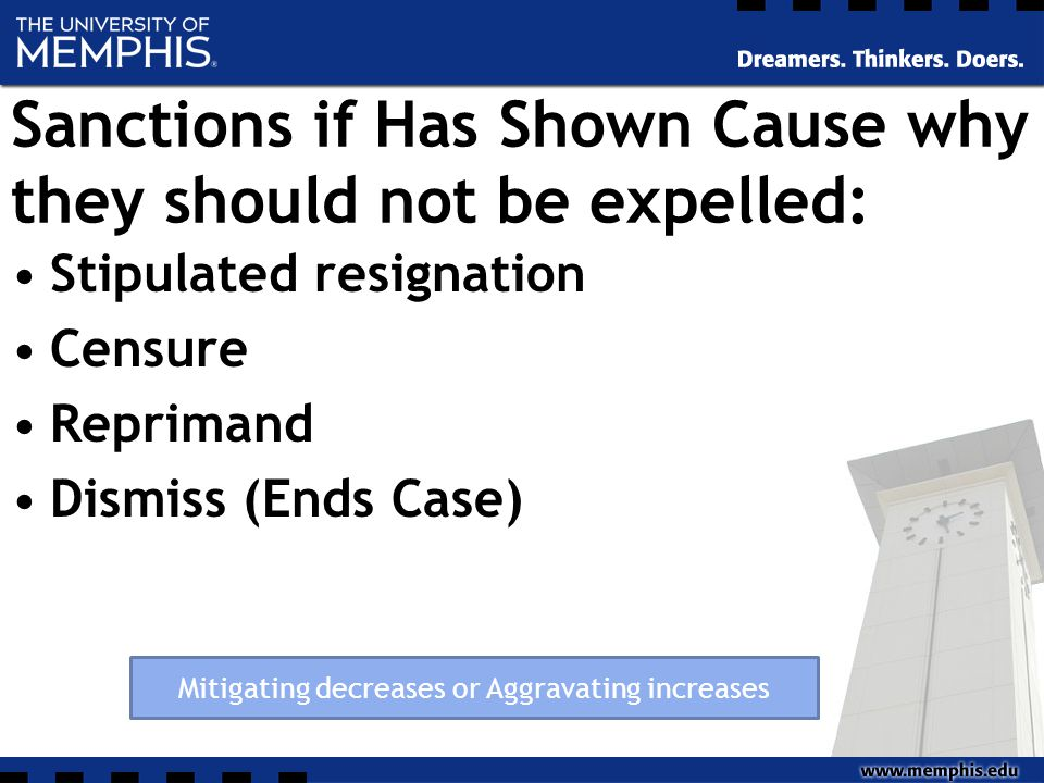 Sanctions if Has Shown Cause why they should not be expelled: Stipulated resignation Censure Reprimand Dismiss (Ends Case) Mitigating decreases or Aggravating increases