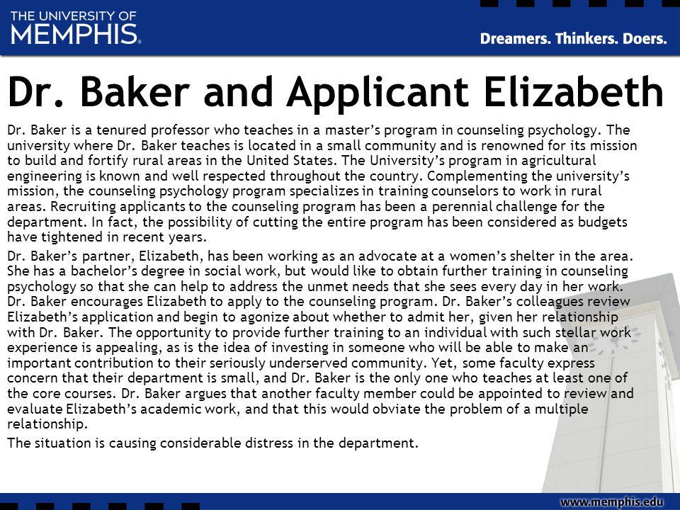 Dr. Baker and Applicant Elizabeth Dr.