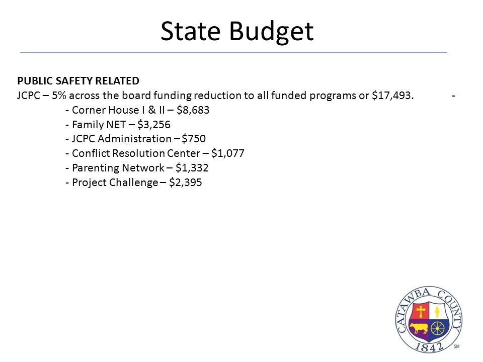 State Budget PUBLIC SAFETY RELATED JCPC – 5% across the board funding reduction to all funded programs or $17,493.