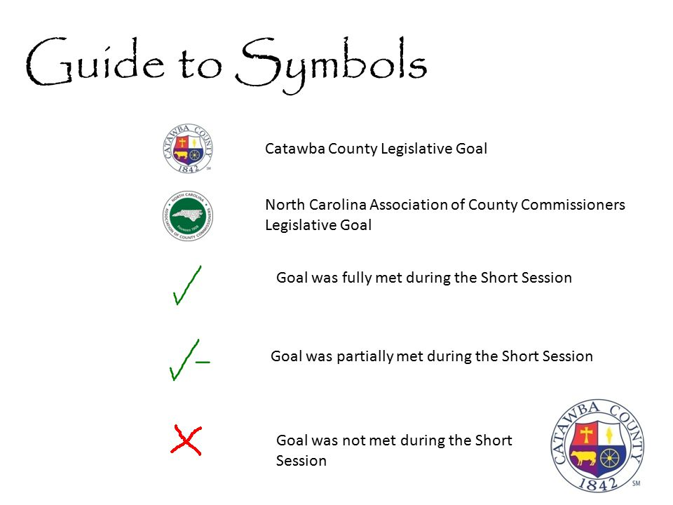 Guide to Symbols Catawba County Legislative Goal Goal was partially met during the Short Session Goal was fully met during the Short Session Goal was