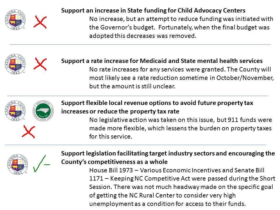 Support an increase in State funding for Child Advocacy Centers No increase, but an attempt to reduce funding was initiated with the Governor's budget.