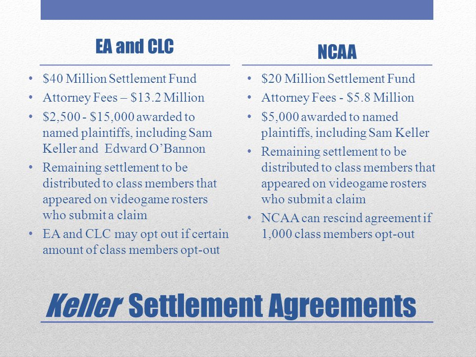 Keller Settlement Agreements EA and CLC $40 Million Settlement Fund Attorney Fees – $13.2 Million $2,500 - $15,000 awarded to named plaintiffs, includ