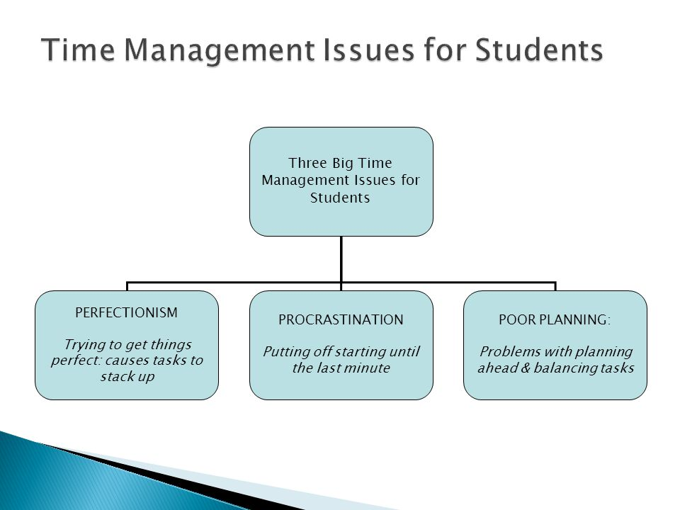 Three Big Time Management Issues for Students PERFECTIONISM Trying to get things perfect: causes tasks to stack up PROCRASTINATION Putting off starting until the last minute POOR PLANNING: Problems with planning ahead & balancing tasks