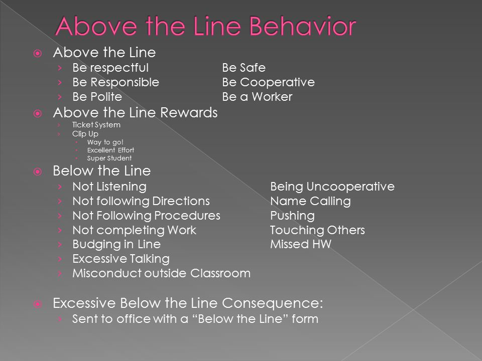  Above the Line › Be respectfulBe Safe › Be Responsible Be Cooperative › Be PoliteBe a Worker  Above the Line Rewards › Ticket System › Clip Up  Way to go.