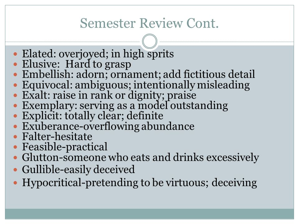 Semester Review Cont.