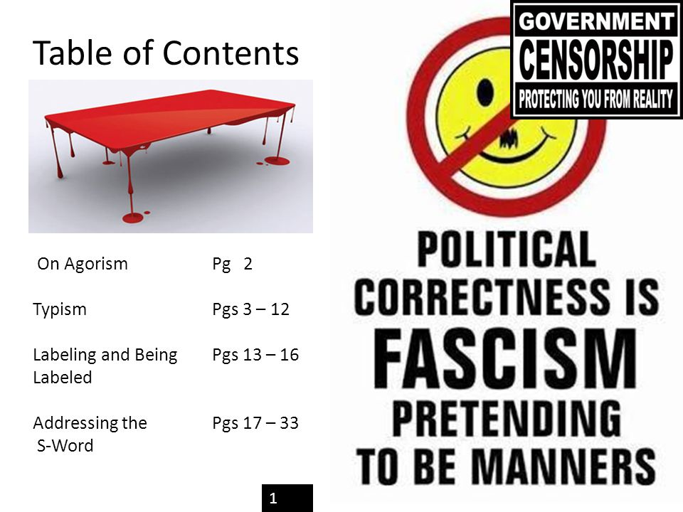 Table of Contents On Agorism Pg 2 TypismPgs 3 – 12 Labeling and Being Pgs 13 – 16 Labeled Addressing the Pgs 17 – 33 S-Word 1