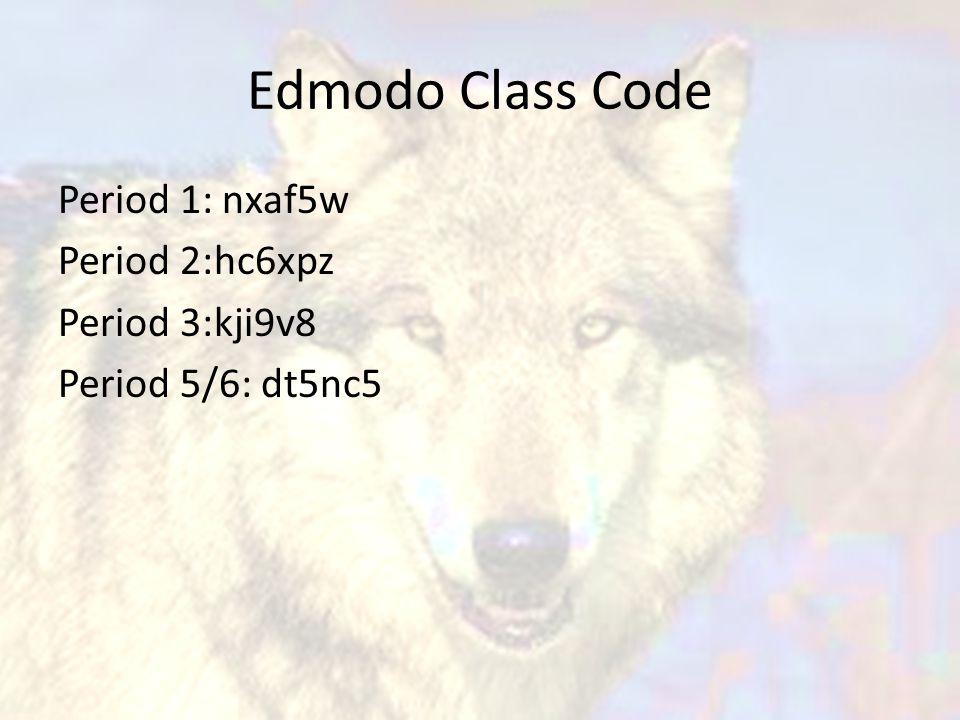 Edmodo Class Code Period 1: nxaf5w Period 2:hc6xpz Period 3:kji9v8 Period 5/6: dt5nc5