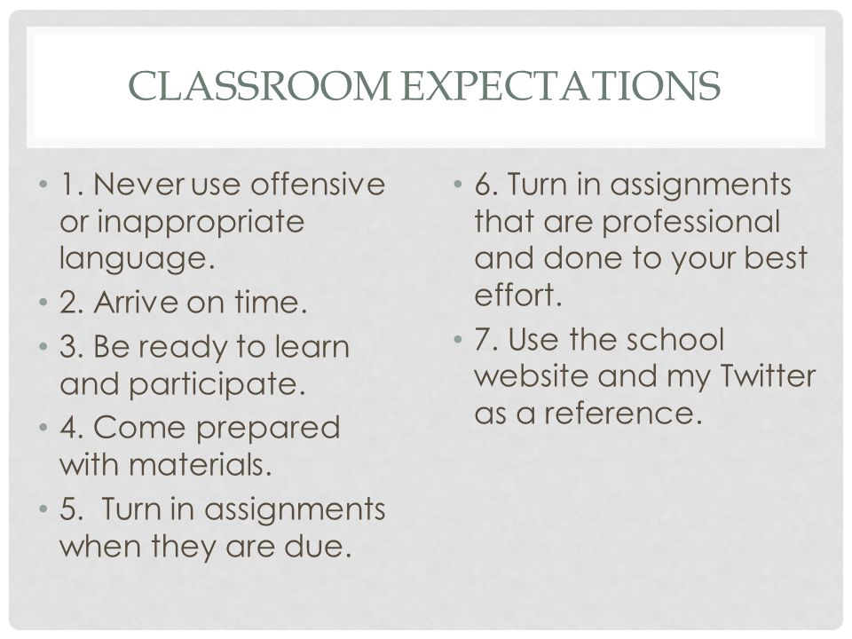 CLASSROOM EXPECTATIONS 1. Never use offensive or inappropriate language.