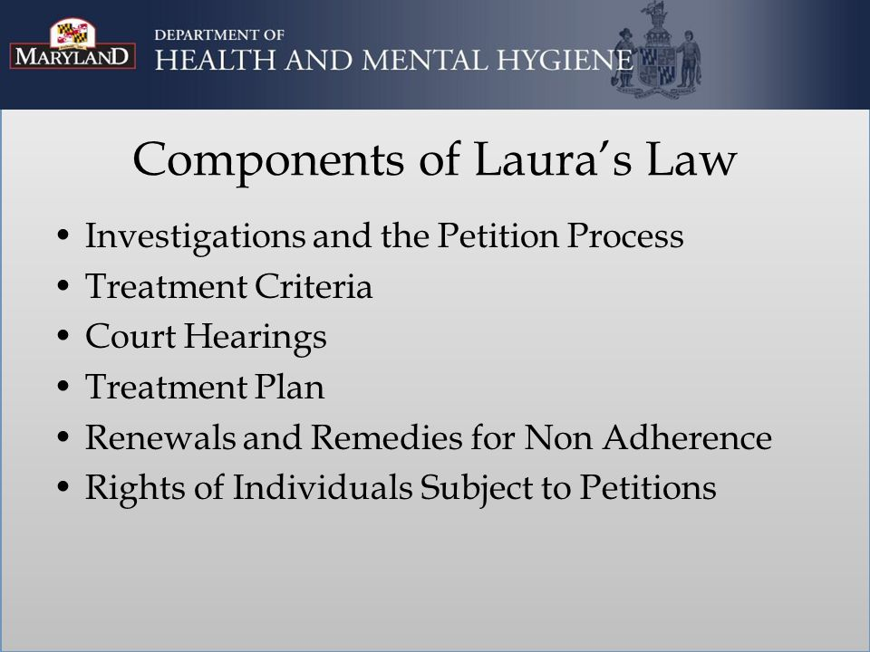 Investigations and Petition Process Only the county mental health director may file a petition with the court in the county where the individual is present.