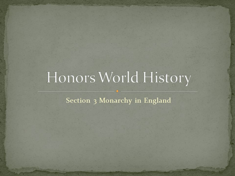 Section 3 Monarchy in England
