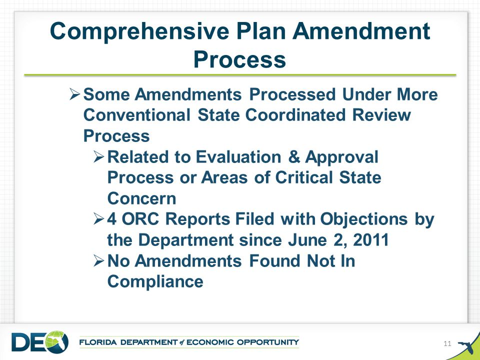 Comprehensive Plan Amendment Process 11  Some Amendments Processed Under More Conventional State Coordinated Review Process  Related to Evaluation &
