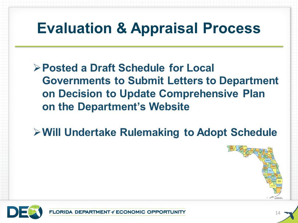 Evaluation & Appraisal Process 14  Posted a Draft Schedule for Local Governments to Submit Letters to Department on Decision to Update Comprehensive