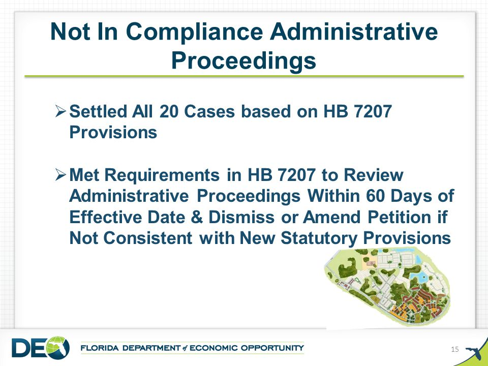 Not In Compliance Administrative Proceedings 15  Settled All 20 Cases based on HB 7207 Provisions  Met Requirements in HB 7207 to Review Administrat