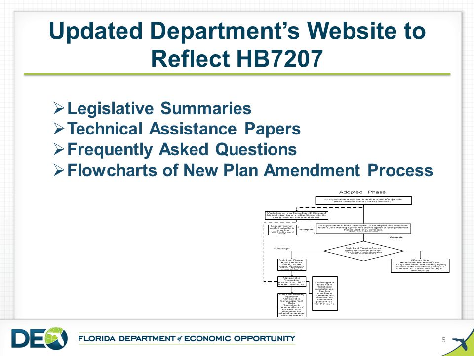Updated Department's Website to Reflect HB7207 5  Legislative Summaries  Technical Assistance Papers  Frequently Asked Questions  Flowcharts of Ne