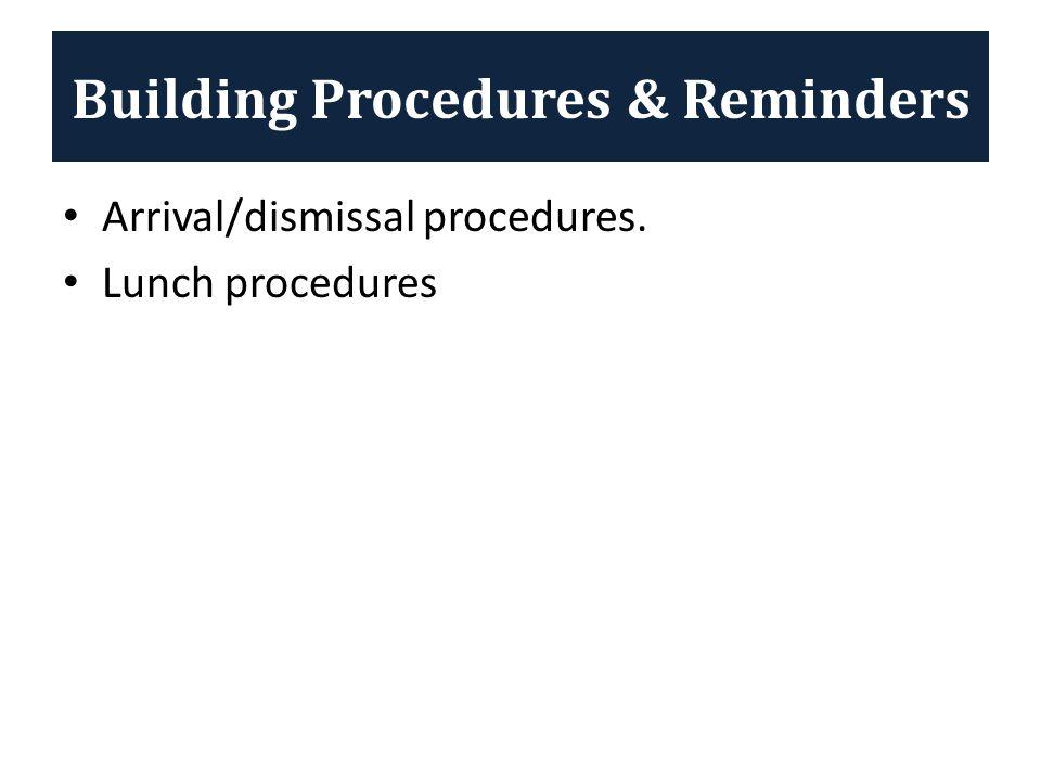 Building Procedures & Reminders Arrival/dismissal procedures. Lunch procedures