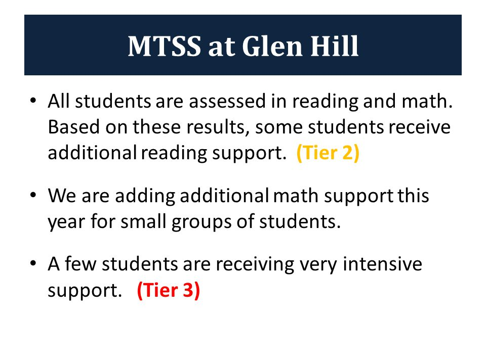 Student performance data (progress monitoring) is used to determine if the additional instruction is working to improve the student's skills in reading and/or math.