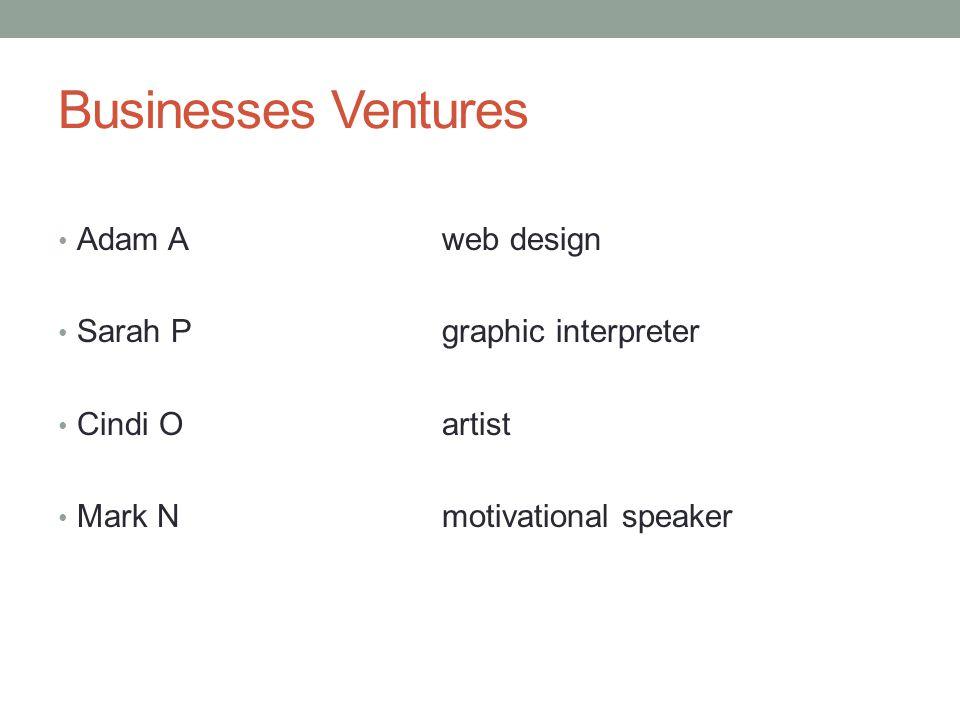 Businesses Ventures Adam Aweb design Sarah Pgraphic interpreter Cindi Oartist Mark Nmotivational speaker