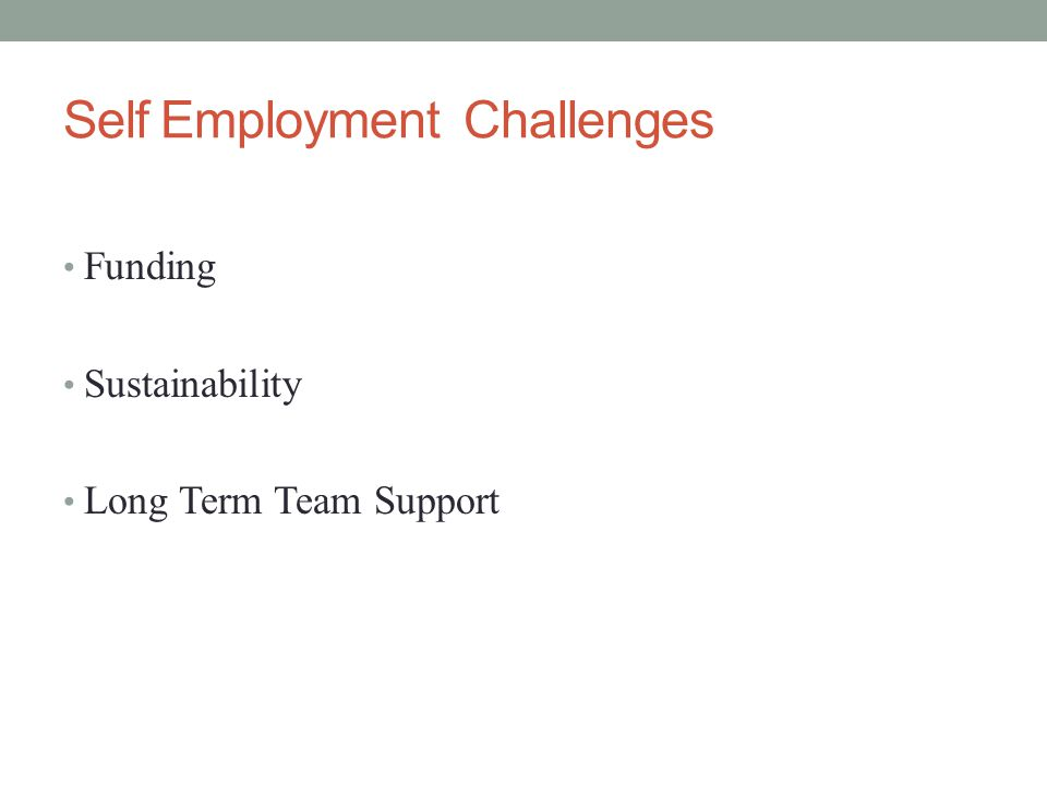 Self Employment Challenges Funding Sustainability Long Term Team Support