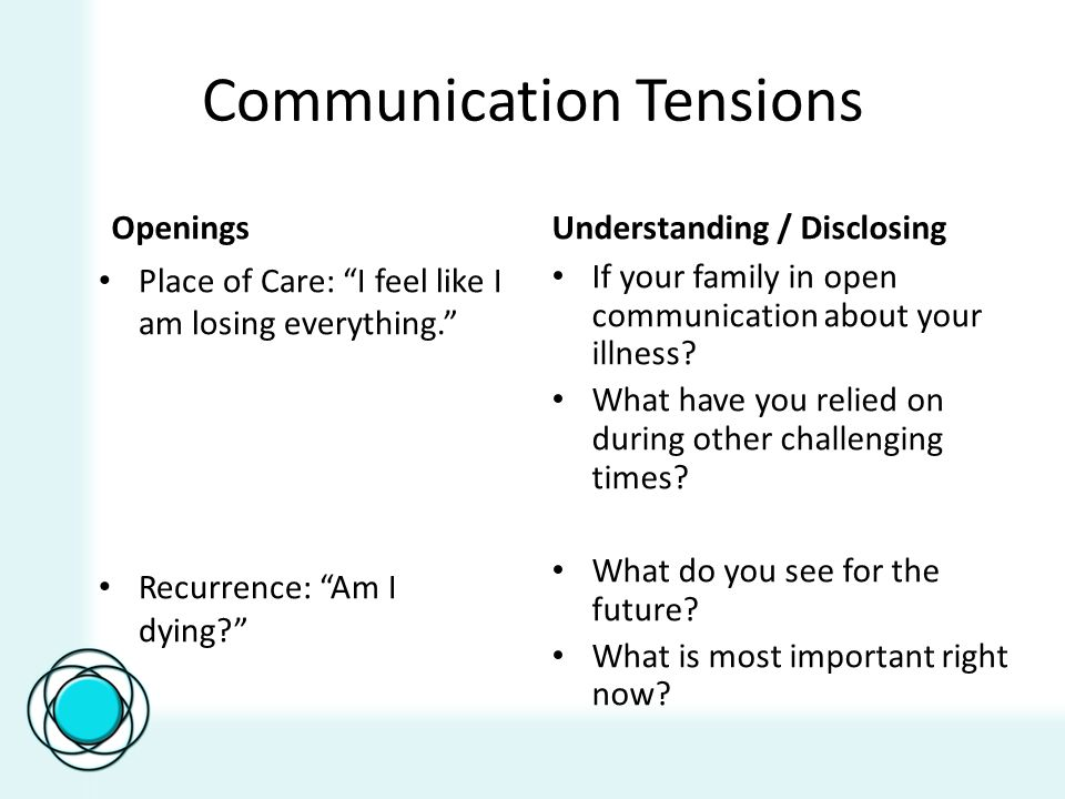 "Communication Tensions Openings Place of Care: ""I feel like I am losing everything."" Recurrence: ""Am I dying?"" Understanding / Disclosing If your fami"
