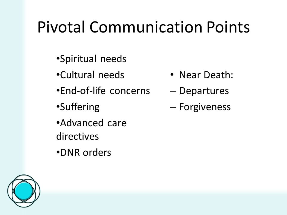 Pivotal Communication Points Spiritual needs Cultural needs End-of-life concerns Suffering Advanced care directives DNR orders Near Death: – Departures – Forgiveness
