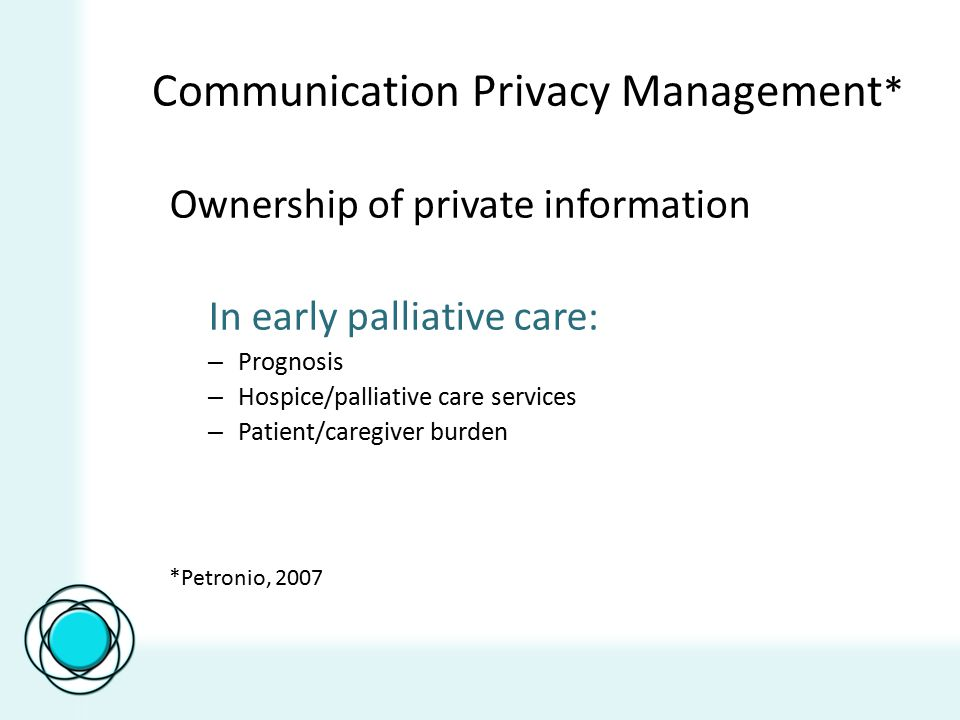 Communication Privacy Management * Ownership of private information In early palliative care: – Prognosis – Hospice/palliative care services – Patient/caregiver burden *Petronio, 2007