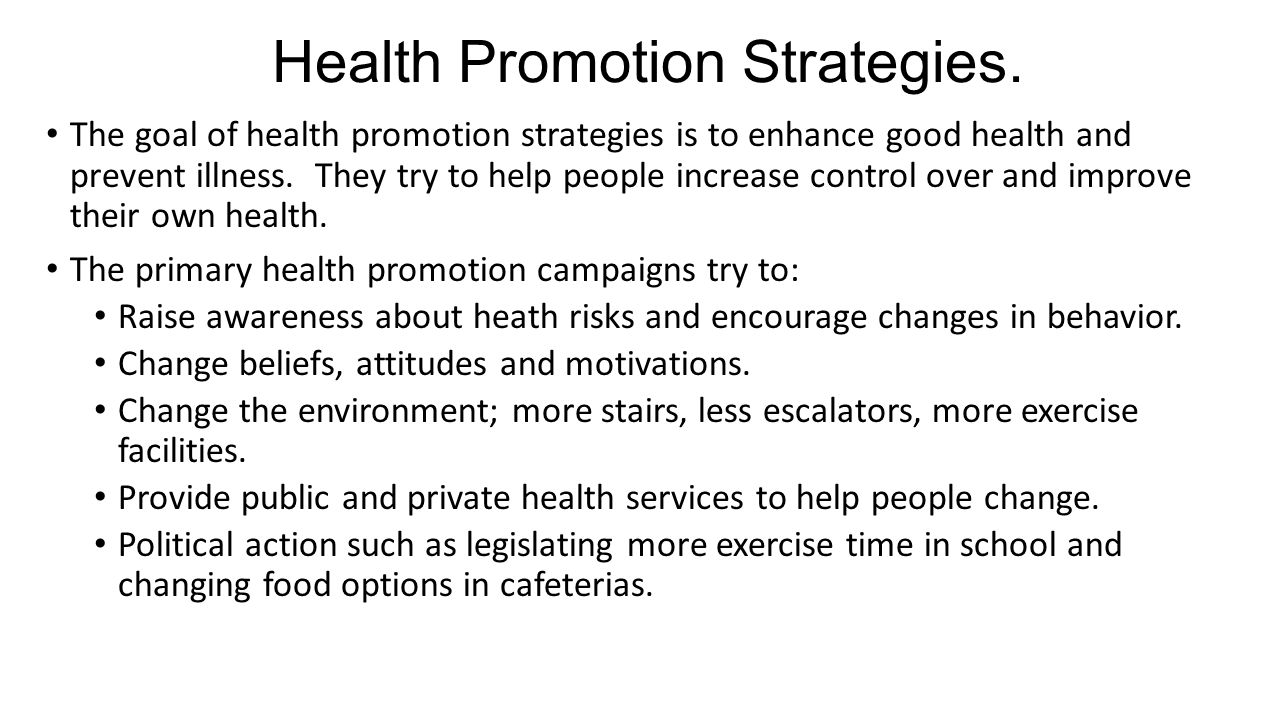 Health Promotion Strategies.