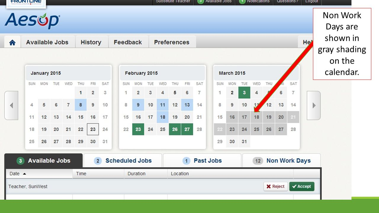 Non Work Days are shown in gray shading on the calendar.
