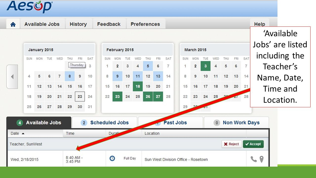 'Available Jobs' are listed including the Teacher's Name, Date, Time and Location.