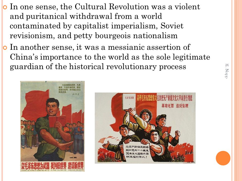 In one sense, the Cultural Revolution was a violent and puritanical withdrawal from a world contaminated by capitalist imperialism, Soviet revisionism
